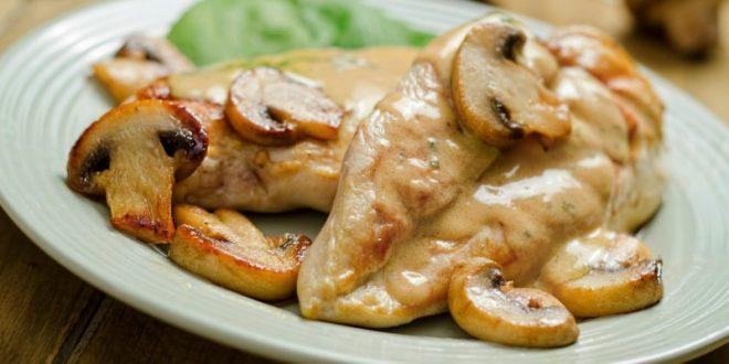 خوراک مرغ و قارچ رژیمی
